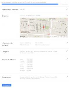 información página my business