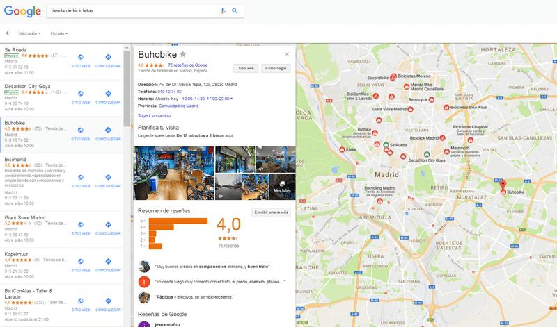 tienda de bicicletas google my business