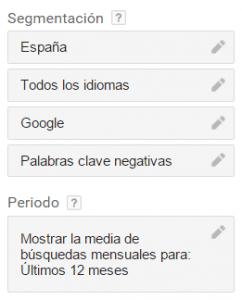 Planificador de Palabras Clave Google AdWords