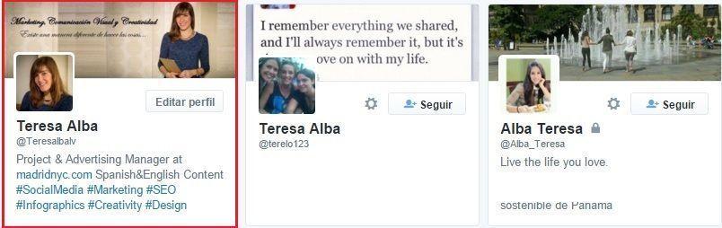 Perfil Twitter Teresa Alba