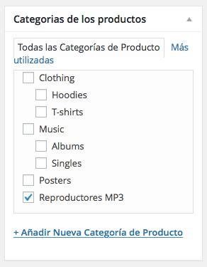 categorías productos woocommerce