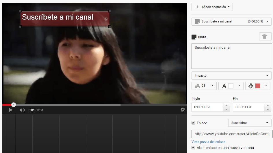YouTube anotación con enlace para suscribirse