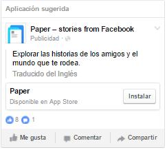 anuncio facebook app