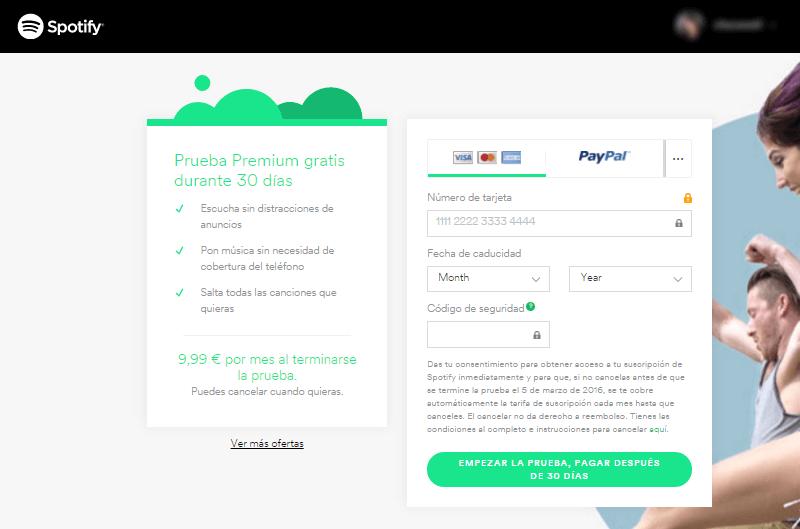 Ejemplo de freemium y posterior servicio premium de Spotify