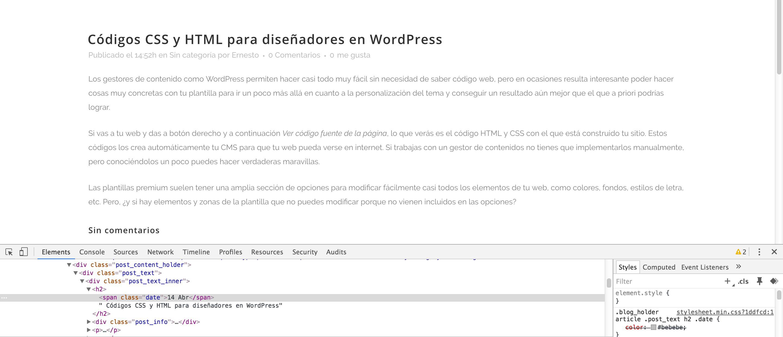 Códigos CSS y HTML para editar tu página web en WordPress