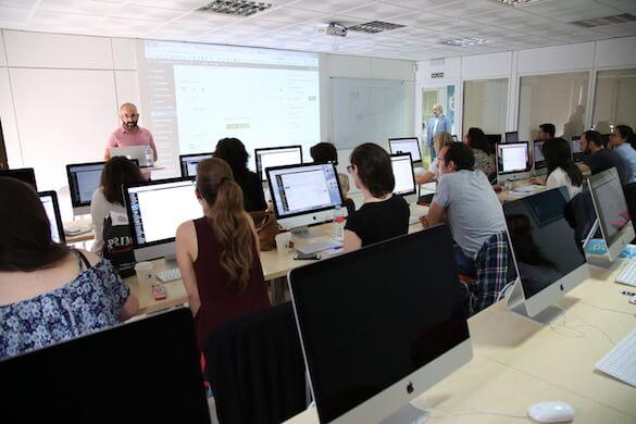 Aula donde se imparte el curso de WordPress de Aula CM