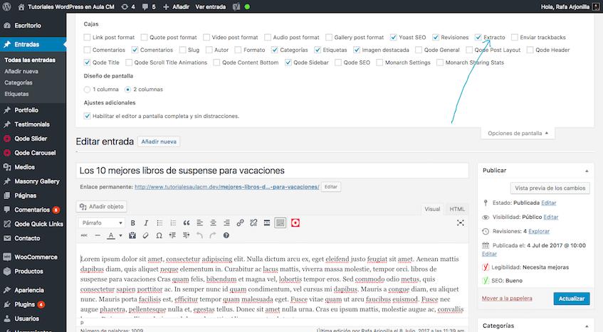 No olvides poner el extracto antes de publicar un artículo