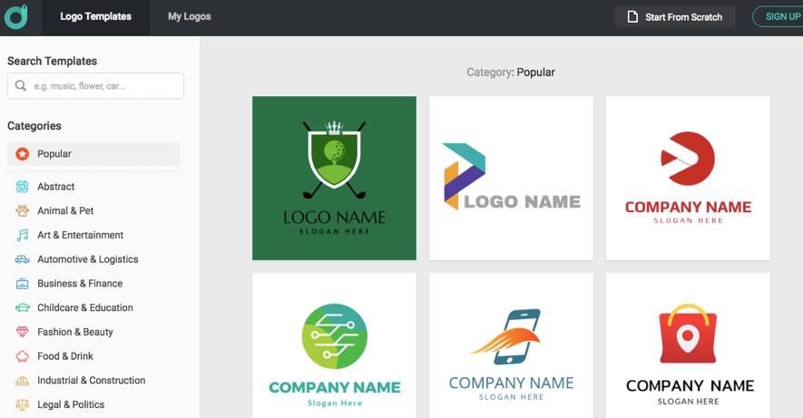 3a51ec534974 DesignEvo tiene más de 7.000 plantillas para que puedas encontrar un  logotipo que se ajuste realmente al branding de tu empresa. Tiene un  intuitivo panel de ...