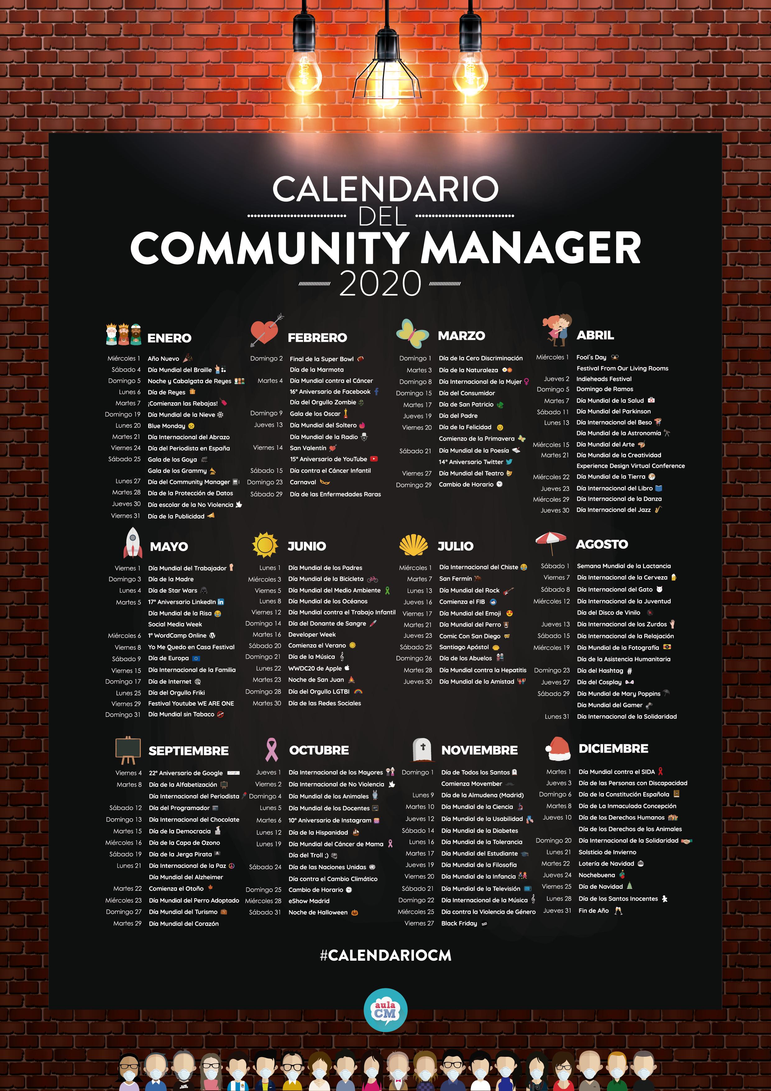 El Calendario del Community Manager y Social Media 2020